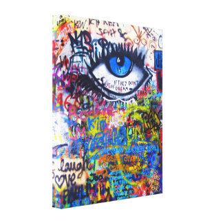 Toile Oeil mauvais de graffiti bleu