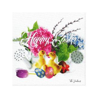 Toile Oeufs de pâques d'aquarelle, canetons et fleurs de