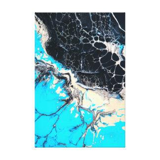 Toile Oeuvre d'art liquide cyan et noire de peinture