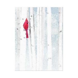 Toile Oiseau cardinal rouge dans le bel arbre de bouleau