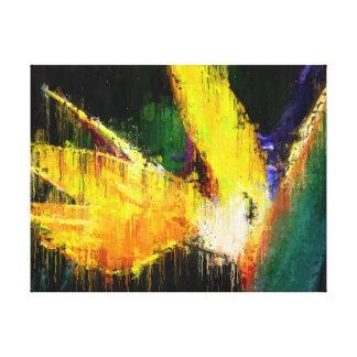 Toile Oiseau d'art tropical impressionniste de fleur de