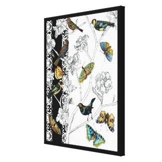 Toile Oiseaux et papillon sur un arrière - plan noir et