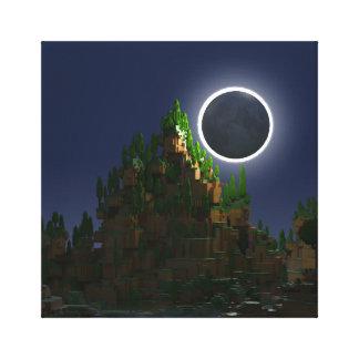 Toile Ombre de l'art numérique de Voxel de lune