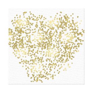 Toile Or et coeur blanc de confettis
