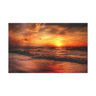 Toile orange vive de coucher du soleil de plage toiles