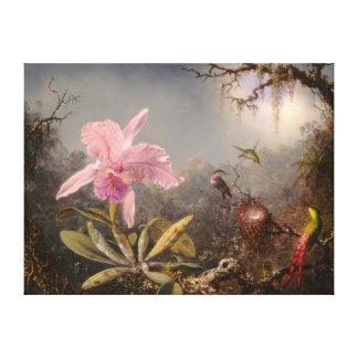 Toile Orchidée de Cattleya et trois colibris