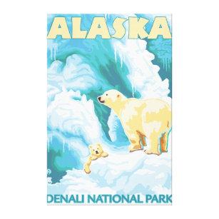 Toile Ours blancs et CUB - parc national de Denali, Alas