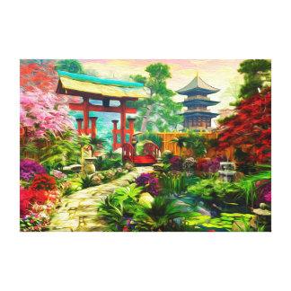 Toile Pagoda japonaise Sakura de jardin et cascade