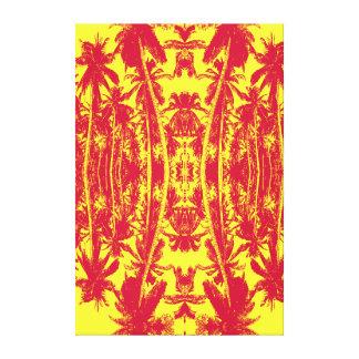 Toile Palmiers en rouge et le jaune