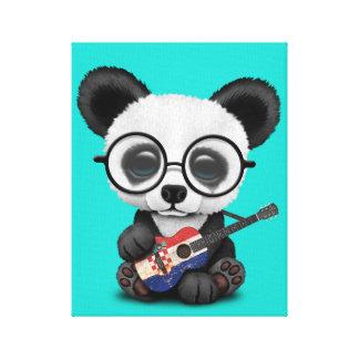 Toile Panda de bébé jouant la guitare croate de drapeau