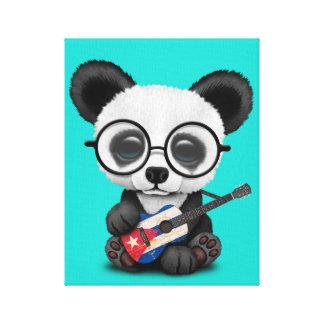 Toile Panda de bébé jouant la guitare cubaine de drapeau