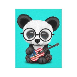 Toile Panda de bébé jouant la guitare de drapeau