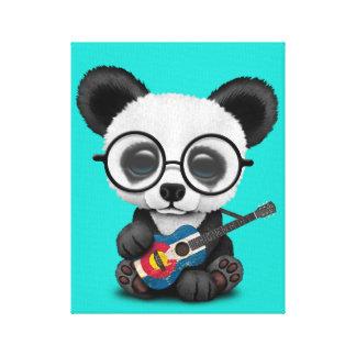 Toile Panda de bébé jouant la guitare de drapeau du