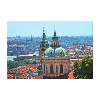 Toile Panorama de Prague avec l'église de Saint-Nicolas