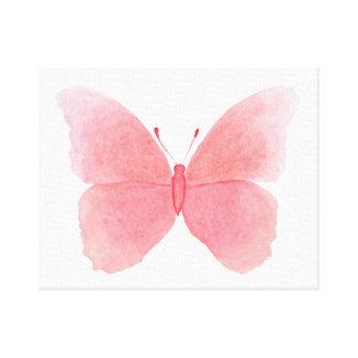 Toile Papillon rose d'aquarelle