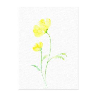 Toile Pavot jaune abstrait d'aquarelle
