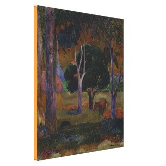 Toile Paysage avec un porc et un cheval par Paul Gauguin