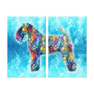 Toile Peinture à l'huile d'art de chien de silhouette de