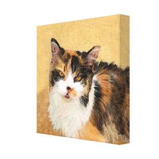 Toile Peinture de chat de calicot - art original mignon