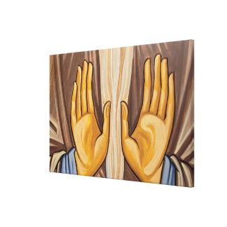Toile Peinture des mains dans une église