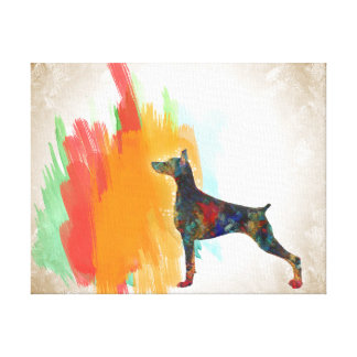 Toile Peinture impressionniste de Dobie de chien de
