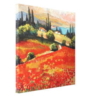 """Toile peinture, peinture à l'huile """"champ de pavot """""""