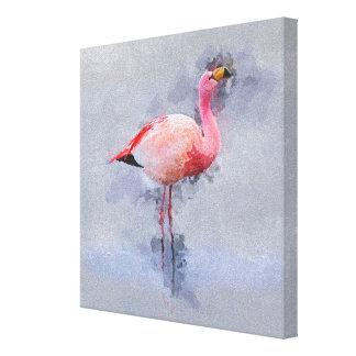 Toile Peinture rose de flamant
