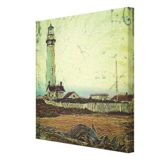 Toile phare nautique de cru de peinture à l'huile de