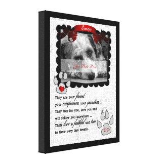 Toile photo commémorative de chien de poème de l'animal