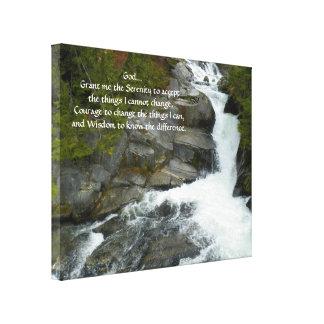 Toile Photo de cascade de forêt de prière de sérénité