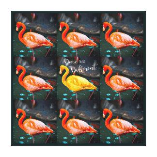 """Toile Photo rose de citation de """"défi"""" et jaune orange"""