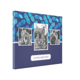 Toile Photos de famille bleues des ananas | de colorant