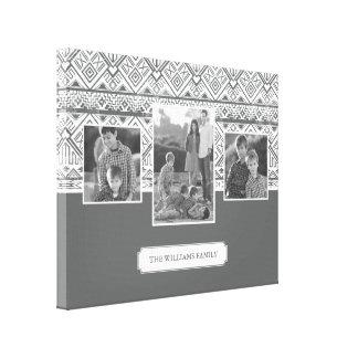 Toile Photos et texte de famille aztèques gris du motif