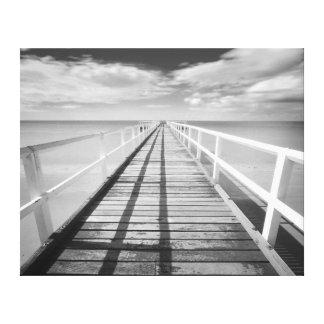 Toile Pilier vintage calmant d'océan en noir et blanc