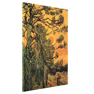 Toile Pins de Van Gogh contre le coucher de soleil rouge
