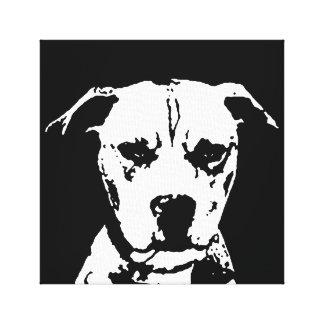 Toile Pitbull noir et blanc ont enveloppé la copie de