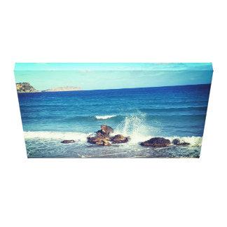 Toile plage d'éclaboussure de vague