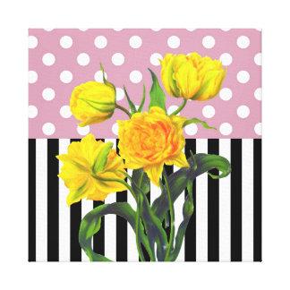 Toile point de polka jaune de tulipe