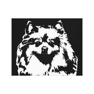 Toile Pomeranian noir et blanc ont enveloppé la copie de