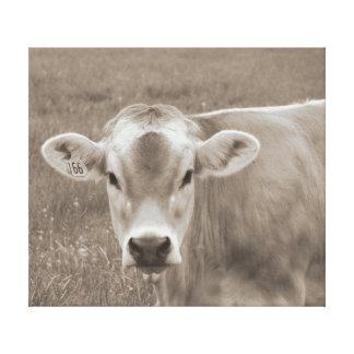Toile Portrait de vache du Jersey de sépia