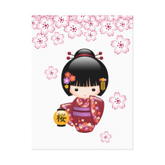 Toile Poupée de Sakura Kokeshi - fille de geisha