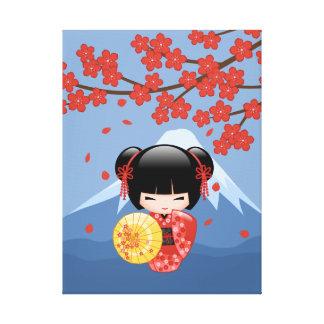 Toile Poupée rouge de Sakura Kokeshi - fille de geisha