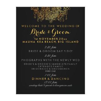 Toile Programme de mariage de lustre d'or de faux de