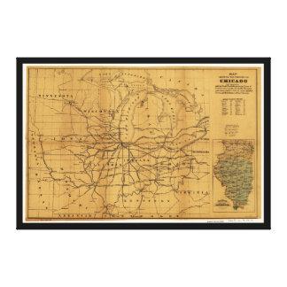 Toile Railroad la carte Chicago et Midwest de entourage