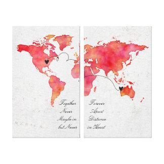 Toile Rapport de longue distance de carte du monde