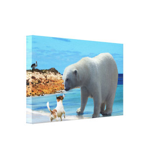 Toile Rencontre d'ours blanc,