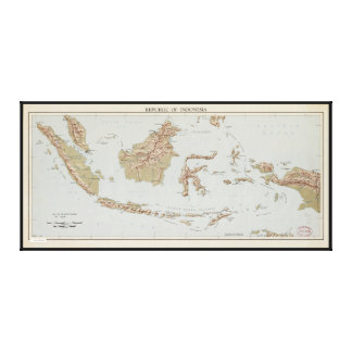 Toile République de l'Indonésie Map (1957)