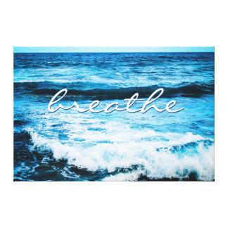 """Toile """"Respirez"""" la photo 32x48 de ressacs de turquoise"""