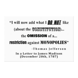 Toile Restriction à la citation de Thomas Jefferson de