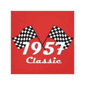 Toile Rétro 1957 drapeaux Checkered noirs et blancs
